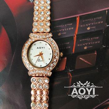 AOYI 典雅菱格紋鑲鑽奢華鍊錶 手錶