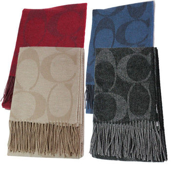 COACH 經典LOGO羊毛+安哥拉兔毛+喀什米爾+桑蠶絲流蘇圍巾/披巾(4色)