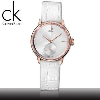 【瑞士 CK手錶 Calvin Klein】獨立秒針玫瑰金皮革女錶(K2Y236K6 - 小)