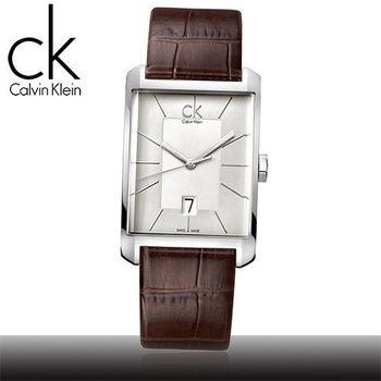 【瑞士 CK手錶 Calvin Klein】時尚流行-方型直紋紳士腕錶(K2M21126)