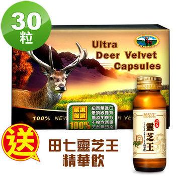 【瓦特爾】紐西蘭鹿茸30粒/盒 (贈:葡萄王田七靈芝王精華飲60ml*2瓶)