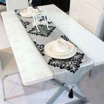 【協貿】大馬士革奢華燙銀麂皮絨裝飾餐桌旗