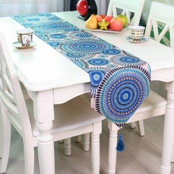 【協貿】波西米亞民族風手工刺繡餐藍色桌旗