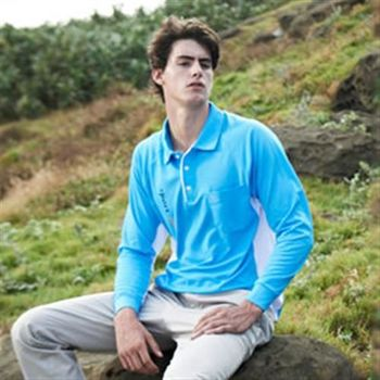 【LEIDOOE】休閒男款長袖POLO衫(53178)天藍