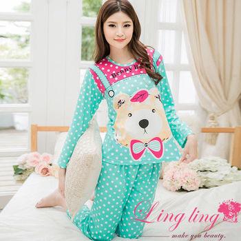 lingling日系 全尺碼-可愛熊熊滿版點點長袖二件式睡衣組(清新藍綠)A2572