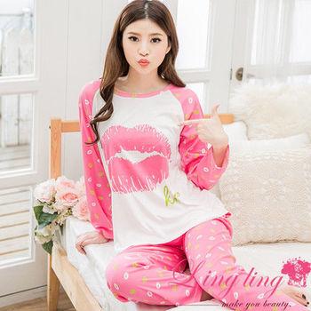 lingling日系 全尺碼-牛奶絲唇印棒球式長袖二件式睡衣組(迷人桃粉)A2554-01