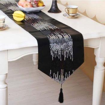 【協貿】歐式奢華黑色流星雨亮片高檔PU軟皮餐桌旗