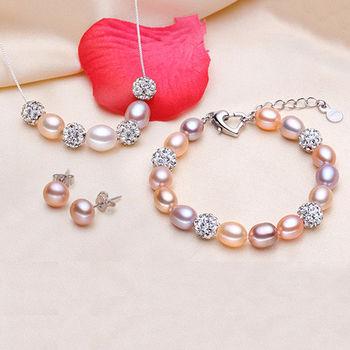 【Sarlisi】璀璨晶鑽珍珠三件套組(手環、項鍊、耳環)