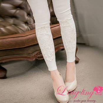 【lingling】斜紋挺布後口袋蕾絲圖案內搭長褲(經典白)A2654-01