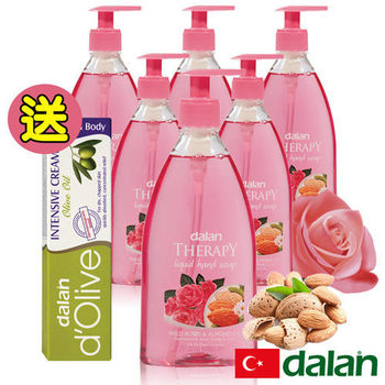【土耳其dalan】 野生玫瑰甜杏仁油健康洗手乳6入超值組贈橄欖深層強效滋養修護霜20ml