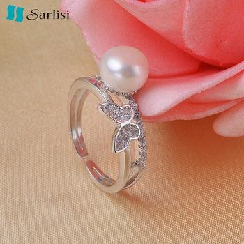 【Sarlisi】蝴蝶純銀晶鑽珍珠戒指(銀色、金色、玫瑰金)