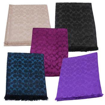 COACH 經典LOGO羊毛+蠶絲流蘇圍巾/披巾(5色)