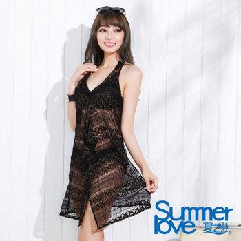【SUMMERLOVE夏之戀】神秘黑連身裙三件式泳衣(E15733)
