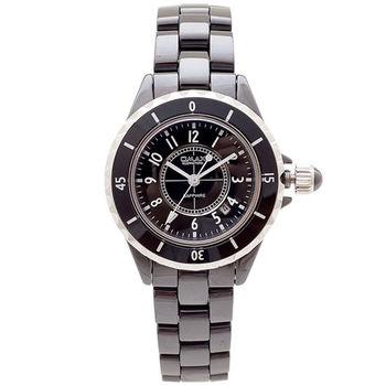 【OMAX】Sapphire數字陶瓷圓型女錶(黑色)