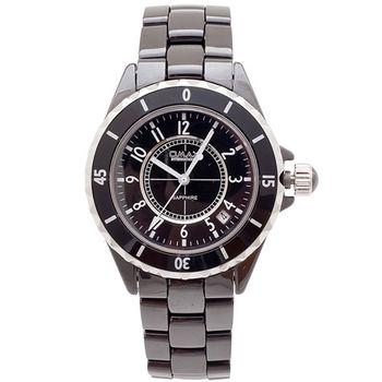 【OMAX】Sapphire數字陶瓷圓型男錶(黑色)