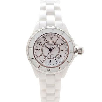 【OMAX】數字陶瓷圓形女錶(白色)