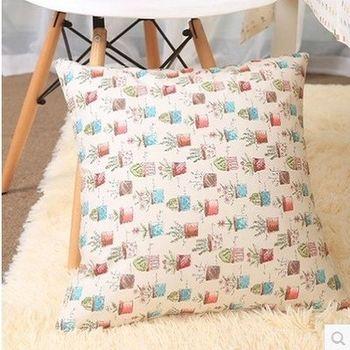 【協貿】美式鄉村現代滿版小花盆純棉帆布抱枕含芯