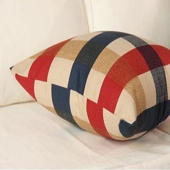 【協貿】美式鄉村現代格子純棉帆布抱枕含芯