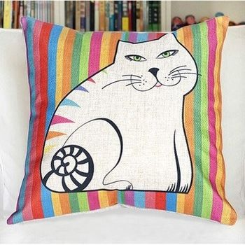 【協貿】美式鄉村多彩貓咪簡約時尚棉麻抱枕含芯