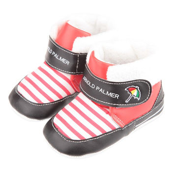 《布布童鞋》Arnold Palmer雨傘牌保暖毛橫條紅色中筒寶寶靴(13cm~15cm)ML6220A