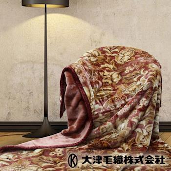 日本大津 進口雙層毛毯(單人 溫莎-暗紅)
