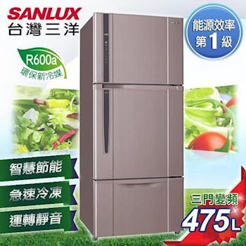 【SANLUX台灣三洋】475L三門直流變頻冰箱/SR-B475CV