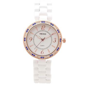 【KEZZI】貴氣優雅藍色晶鑽女錶(贈品 璀璨珍珠項鍊)