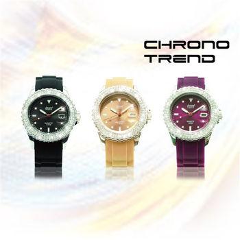 CHRONO TREND 低調奢華時尚晶鑽腕錶-超值三色組