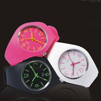 CHRONO TREND 繽紛撞色設計矽膠果凍錶-超值三色組