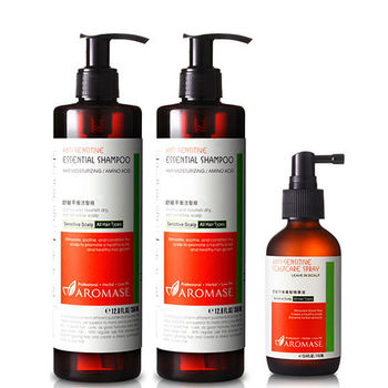Aromase艾瑪絲 舒敏平衡養髮調理組(舒敏平衡洗髮精350ml*2+舒敏平衡養髮精華液115ml*1)