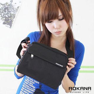 【AOKANA奧卡納】MIT台灣製 輕量防潑水 斜揹包 側背包(黑色02-011)