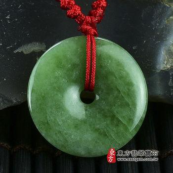 【東方翡翠寶石】平安扣A貨翡翠玉珮吊墜(豆種,綠色) PN025