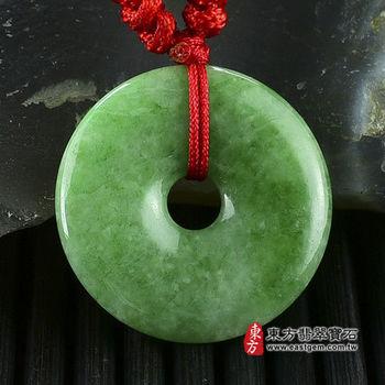 【東方翡翠寶石】平安扣A貨翡翠玉珮吊墜(豆種,綠色) PN022