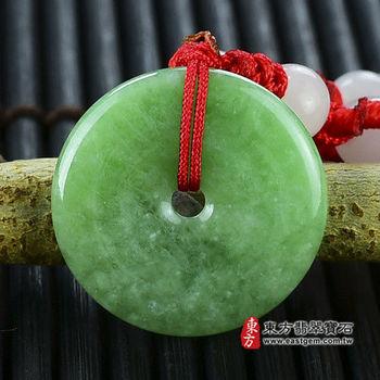 【東方翡翠寶石】平安扣A貨翡翠玉珮吊墜(豆種,淺綠色) PN021