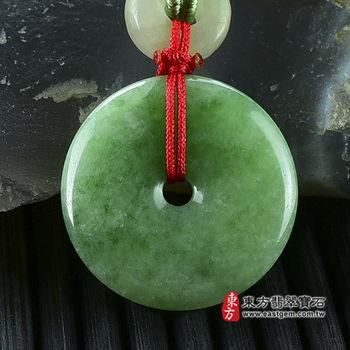 【東方翡翠寶石】平安扣A貨翡翠玉珮吊墜(綠色豆種) PN020