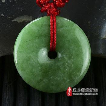 【東方翡翠寶石】平安扣A貨翡翠玉珮吊墜(綠色豆種) PN019