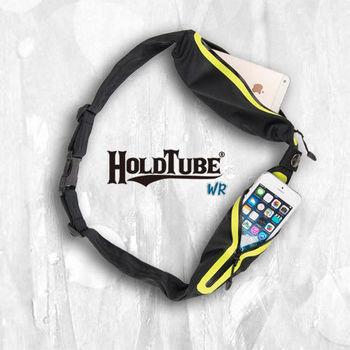 【HOLDTUBE】運動腰帶-防水雙口袋-黑螢光黃