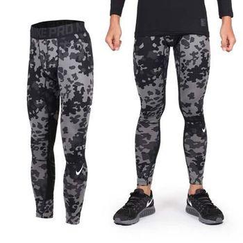 【NIKE】男彈力緊身長褲-慢跑 路跑 迷彩 迷彩黑灰  100%聚酯纖維