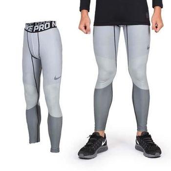 【NIKE】男彈力吸濕排汗緊身長褲-慢跑 路跑 黑白條紋