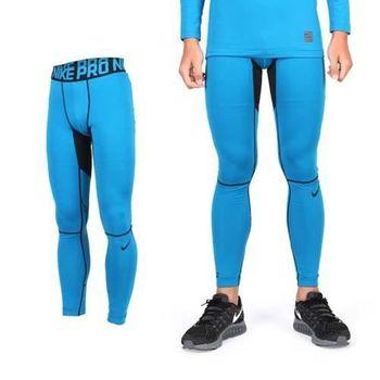 【NIKE】PRO 男彈力吸濕排汗緊身長褲-緊身褲 慢跑 路跑 湖水藍黑
