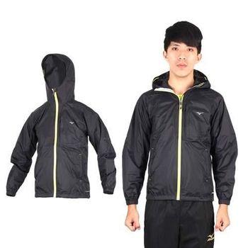 【MIZUNO】男拉鍊口袋設計風衣外套- 路跑 慢跑 運動外套 美津濃 黑螢光黃