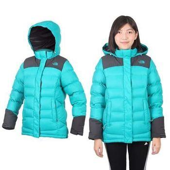【THE NORTH FACE】女800 FILL拉鍊口袋羽絨兜帽外套-保暖 防風 湖水綠
