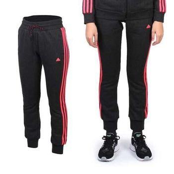 【ADIDAS】女褲管縮口設計針織運動長褲- 路跑 慢跑 愛迪達 深灰亮粉