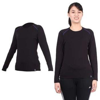【WILDLAND】女輕量銀離子抗菌長袖保暖衣-刷毛 內衣 長T恤 黑