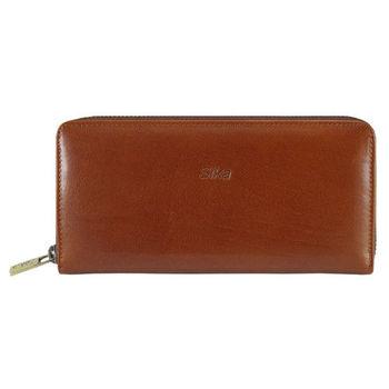 Sika義大利時尚真皮拉鍊式長夾A8236-01原味褐