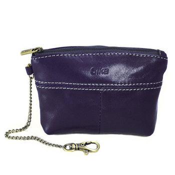 Sika義大利時尚真皮拉鍊大容量零錢包A8257-07木槿紫
