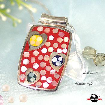 【HEMAKING】純銀天然貝殼浪漫甜心項鍊(紅)