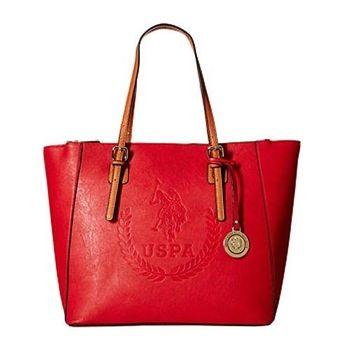US Polo 2016女時尚大馬球標誌壓紋紅色手提包(預購)