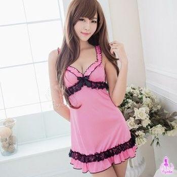 i-Style 粉紅佳人柔緞蝴蝶結睡衣(粉)【AB03510-1】