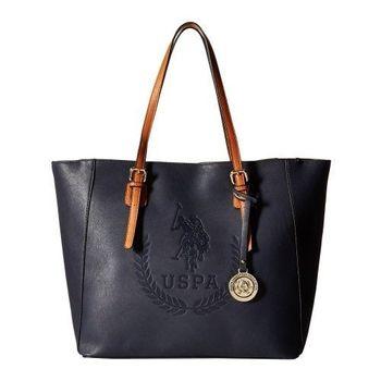 US Polo 2016女時尚大馬球標誌壓紋寶藍色手提包(預購)
